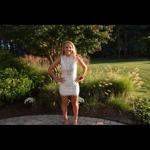 White, lace dress. Open back